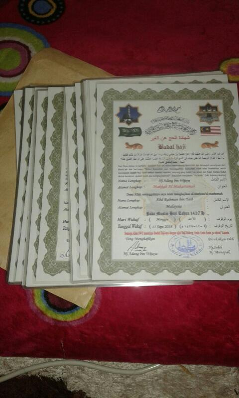 sijil upah haji